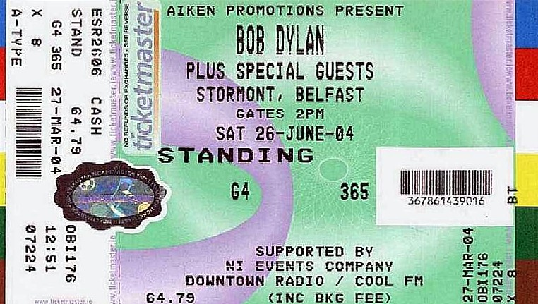 original ticket for Stormont Castle, before the show was relocated to the Odyssey Arena