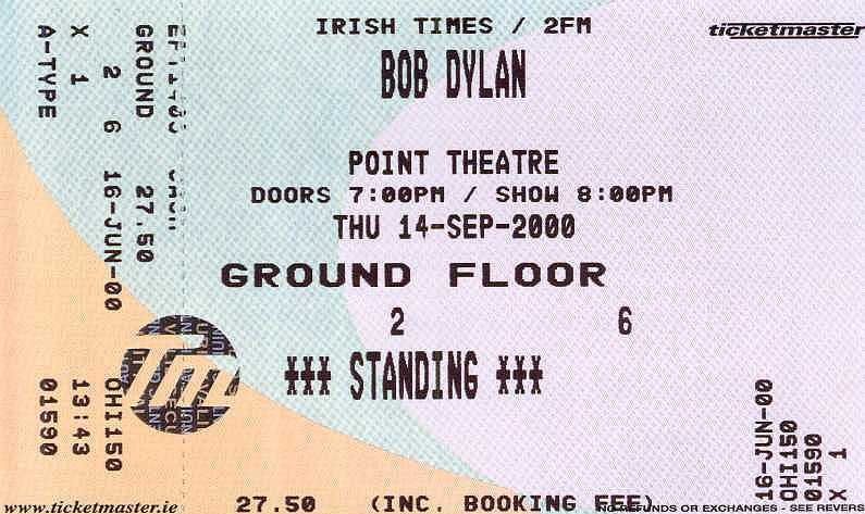 Promoters are still hoping to arrange a second concert in Dublin on September 13, 2000. However, this concert will not be at The Point but at a smaller venue elsewhere in the city.
