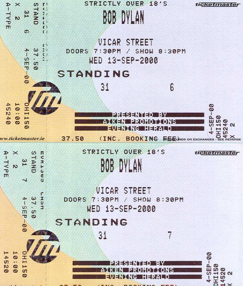 THESE ARE TWO OF THE SIXTEEN TICKETS SOLD IN CORK FOR BOB'S FIRST APPEARANCE IN THE REPUBLIC OF IRELAND SINCE 1995